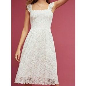 Anthropology Maeve Anastasi White Lace Dress